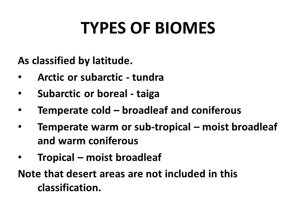 TYPES OF BIOMES As classified by latitude.