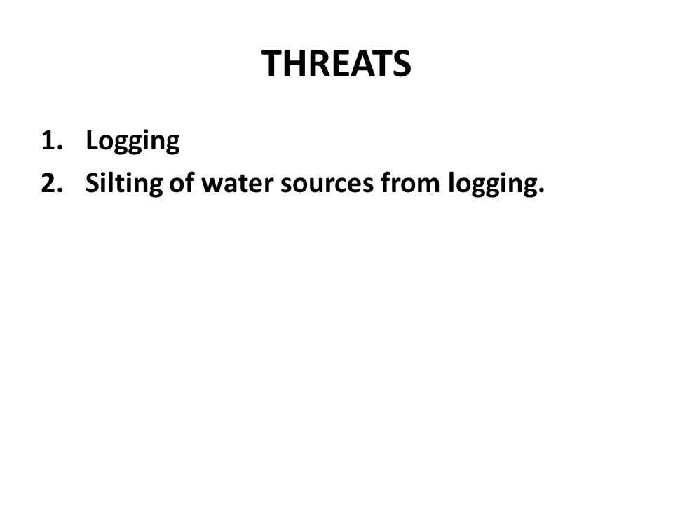 THREATS 1.Logging 2.Silting of water sources from logging.