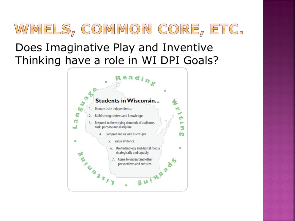 Does Imaginative Play and Inventive Thinking have a role in WI DPI Goals?