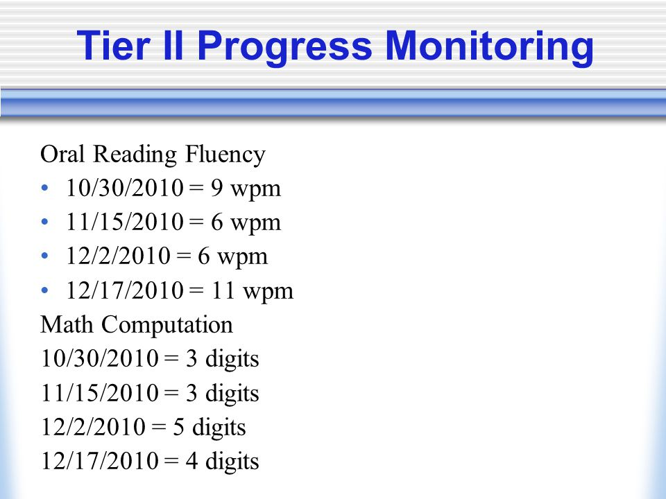 Tier II Progress Monitoring Oral Reading Fluency 10/30/2010 = 9 wpm 11/15/2010 = 6 wpm 12/2/2010 = 6 wpm 12/17/2010 = 11 wpm Math Computation 10/30/2010 = 3 digits 11/15/2010 = 3 digits 12/2/2010 = 5 digits 12/17/2010 = 4 digits