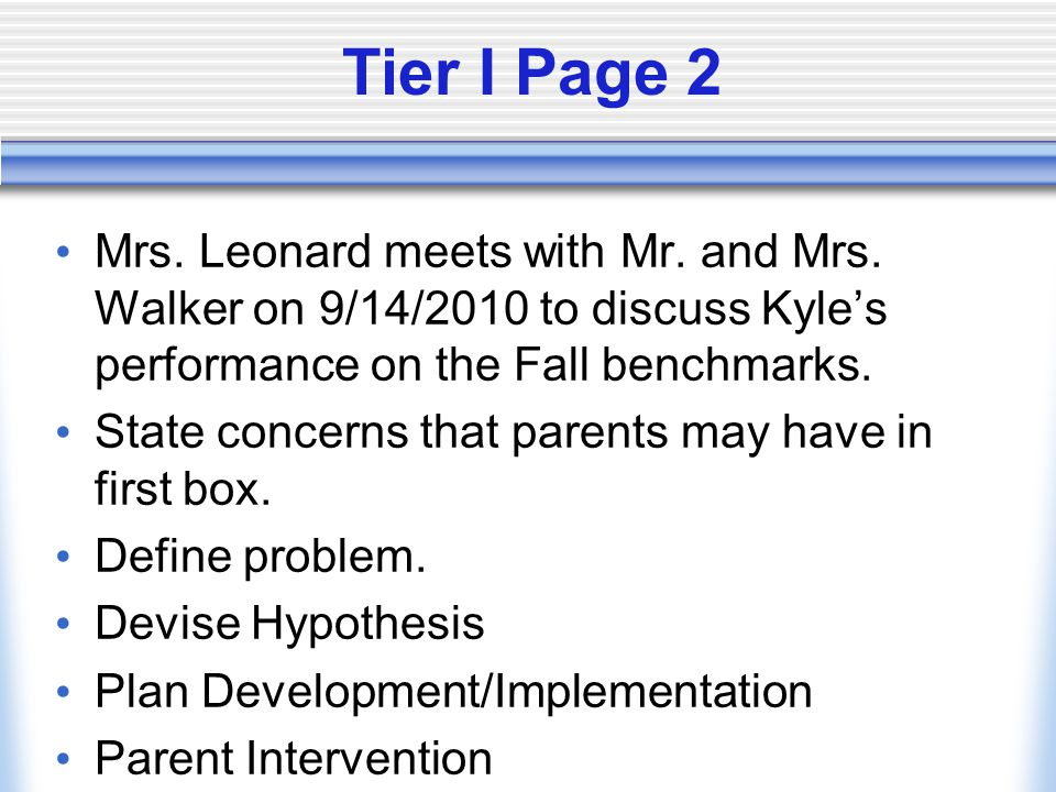 Tier I Page 2 Mrs. Leonard meets with Mr. and Mrs.