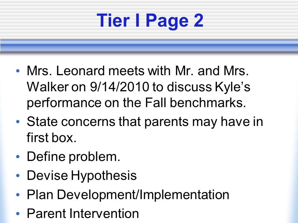 Tier I Pre/Post Data Baseline (pre-test)  Document all areas of concern (I.e.