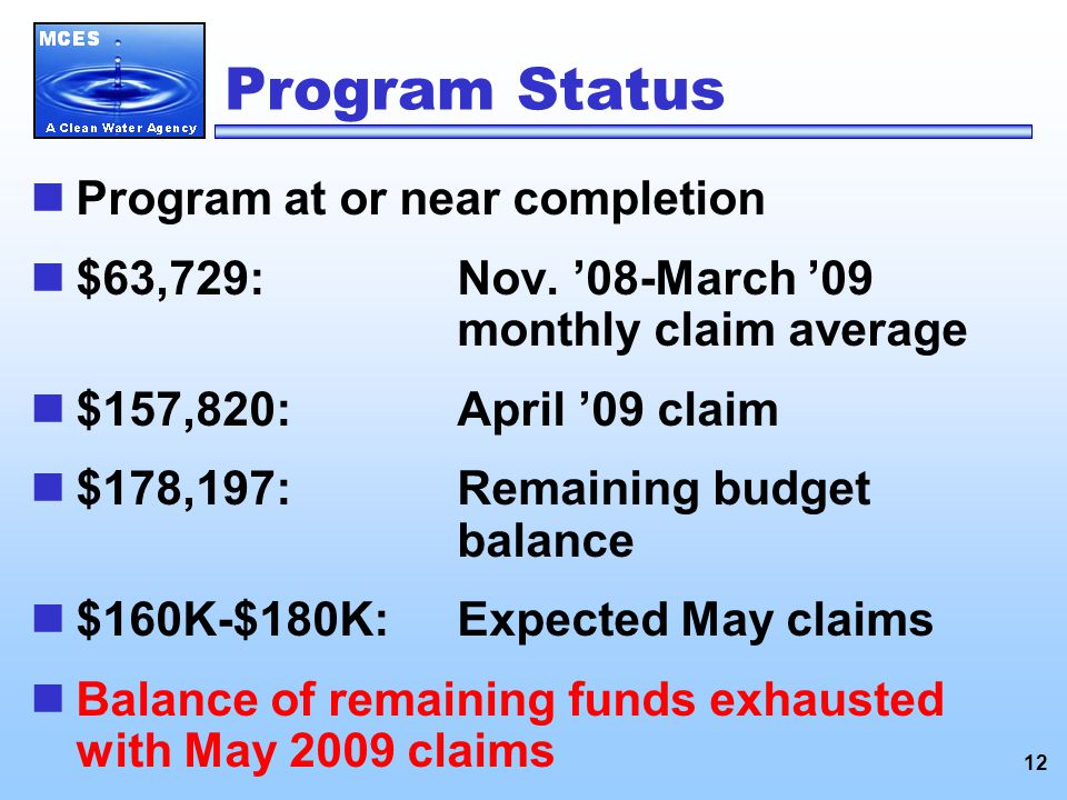 12 Program Status Program at or near completion $63,729:Nov.