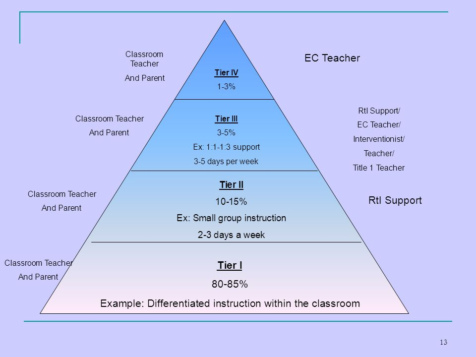 13 Tier I 80-85% Example: Differentiated instruction within the classroom Tier II 10-15% Ex: Small group instruction 2-3 days a week Tier III 3-5% Ex: