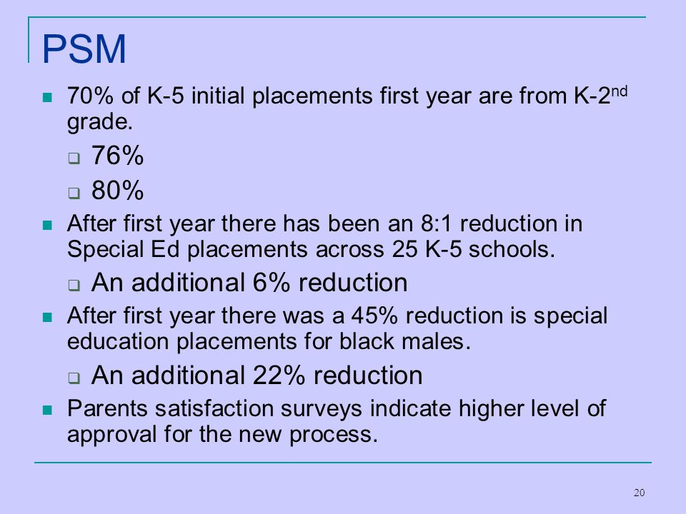 20 PSM 70% of K-5 initial placements first year are from K-2 nd grade.  76%  80% After first year there has been an 8:1 reduction in Special Ed plac
