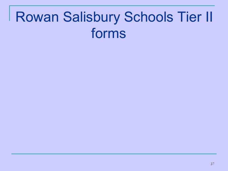 37 Rowan Salisbury Schools Tier II forms