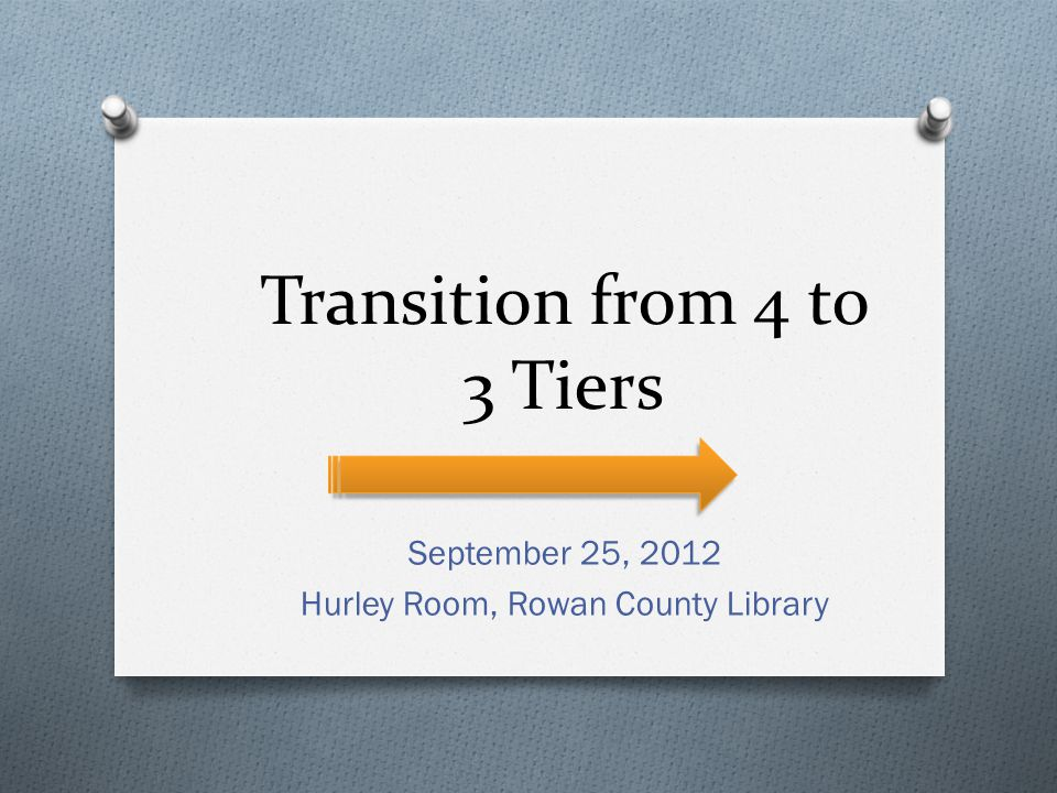 Transition from 4 to 3 Tiers September 25, 2012 Hurley Room, Rowan County Library