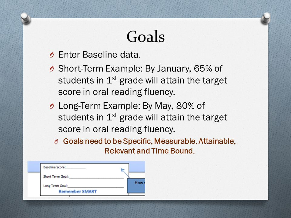 Goals O Enter Baseline data. O Short-Term Example: By January, 65% of students in 1 st grade will attain the target score in oral reading fluency. O L