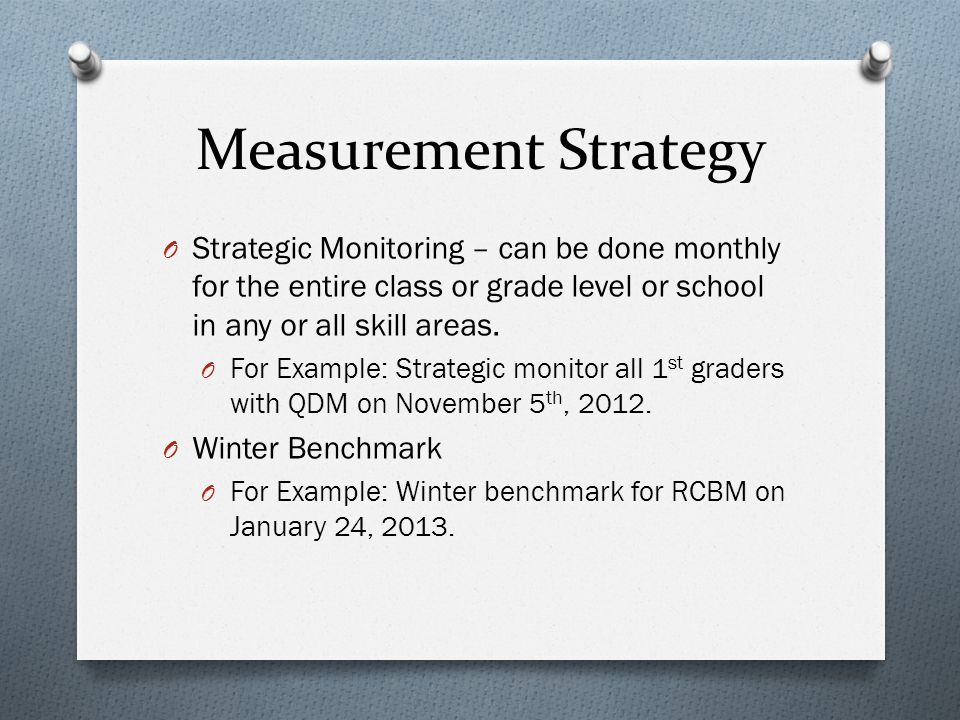 Measurement Strategy O Strategic Monitoring – can be done monthly for the entire class or grade level or school in any or all skill areas.