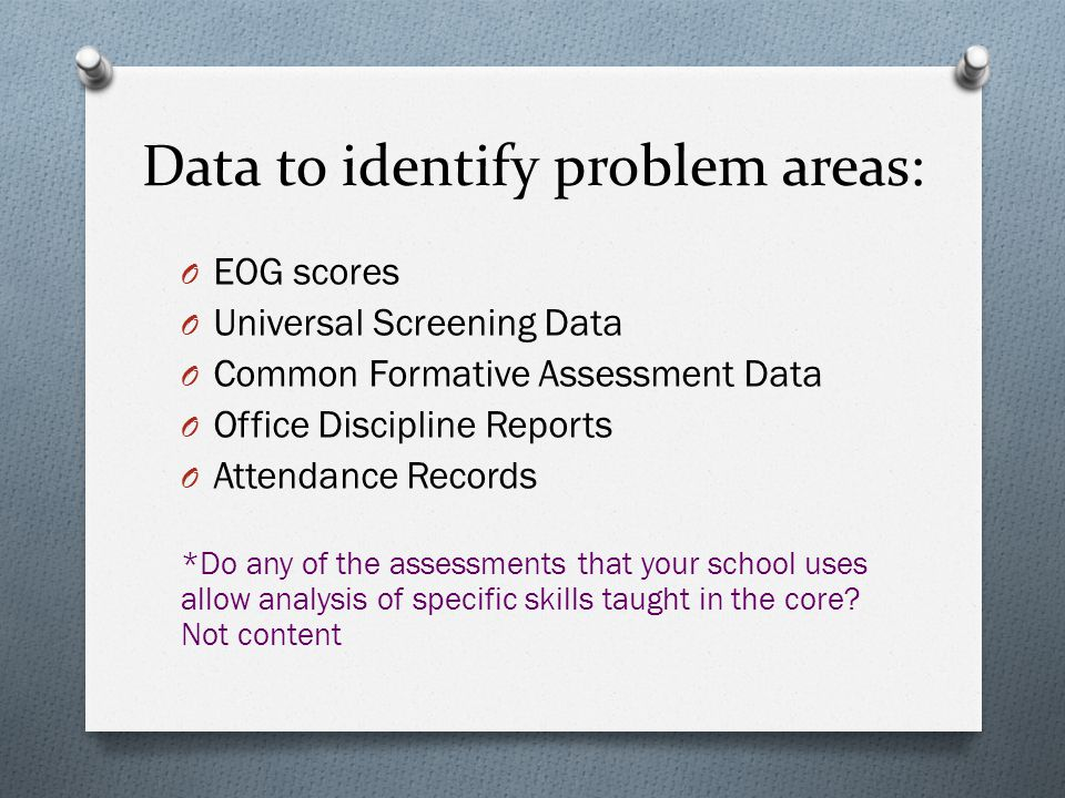 Identify the Problem O Identify the problem based on your data.