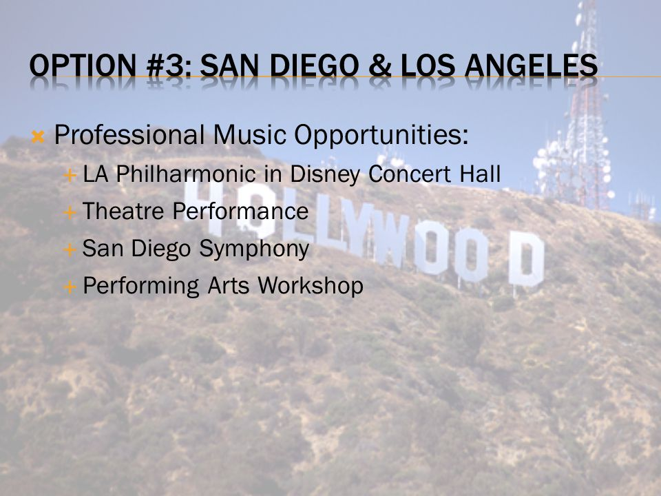  Professional Music Opportunities:  LA Philharmonic in Disney Concert Hall  Theatre Performance  San Diego Symphony  Performing Arts Workshop