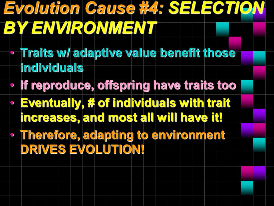 Evolution Cause #4: SELECTION BY ENVIRONMENT Traits w/ adaptive value benefit those individuals If reproduce, offspring have traits too Eventually, # of individuals with trait increases, and most all will have it.