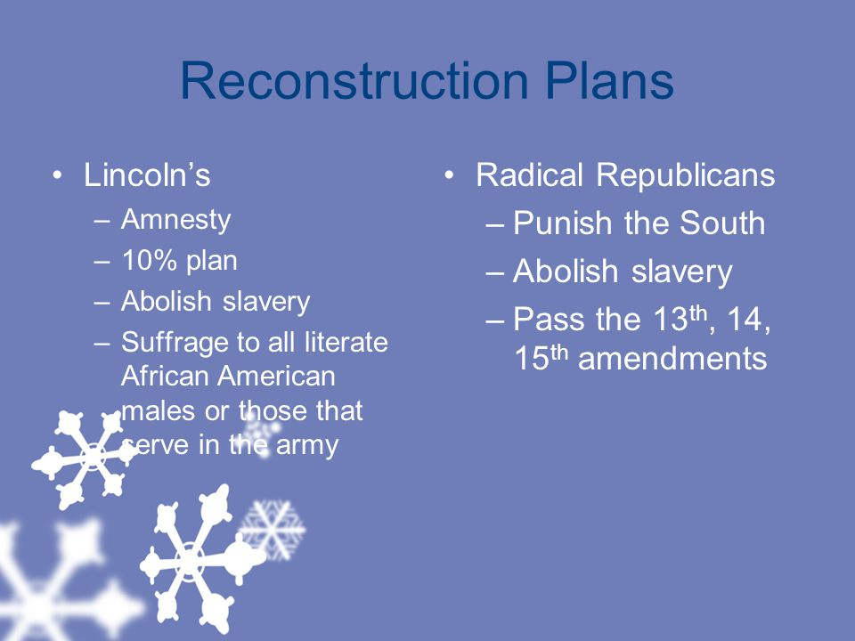 Reconstruction Plans Lincoln's –Amnesty –10% plan –Abolish slavery –Suffrage to all literate African American males or those that serve in the army Radical Republicans –Punish the South –Abolish slavery –Pass the 13 th, 14, 15 th amendments
