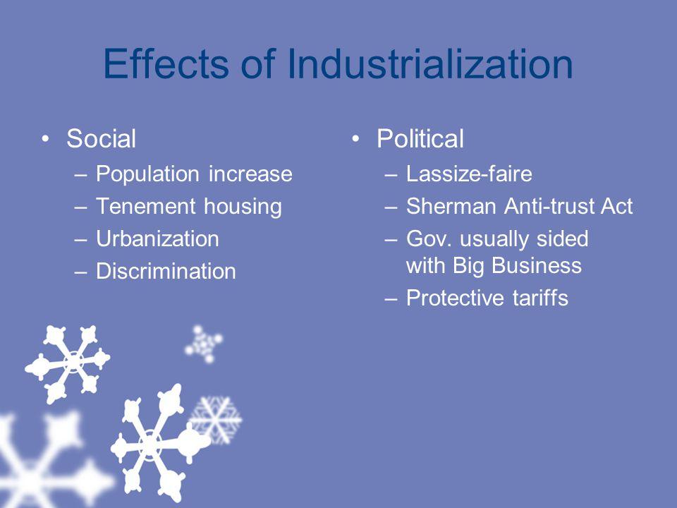 Effects of Industrialization Social –Population increase –Tenement housing –Urbanization –Discrimination Political –Lassize-faire –Sherman Anti-trust Act –Gov.