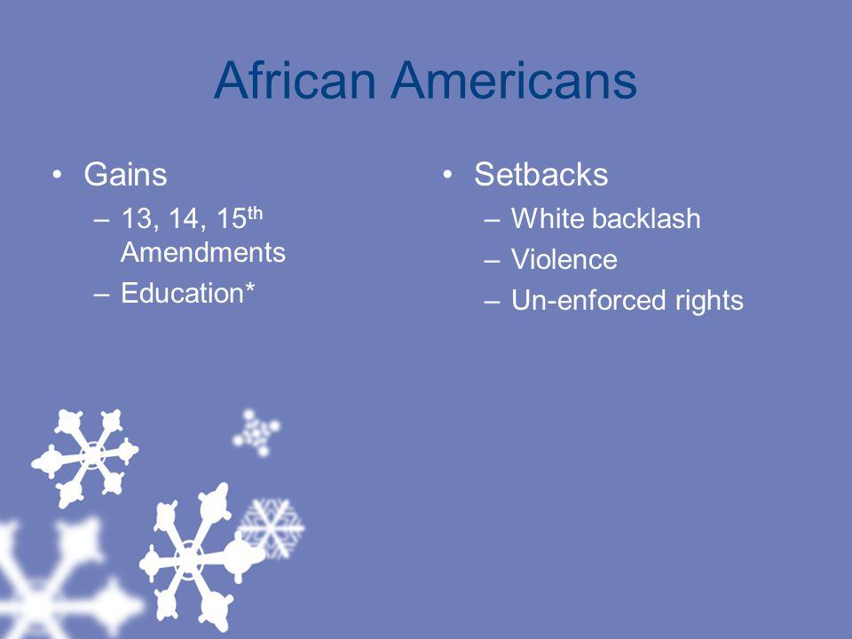 African Americans Gains –13, 14, 15 th Amendments –Education* Setbacks –White backlash –Violence –Un-enforced rights