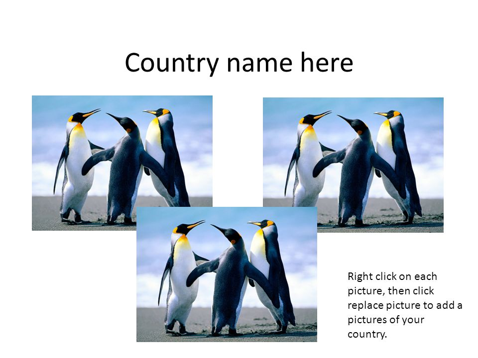 Country name here Right click on each picture, then click replace picture to add a pictures of your country.