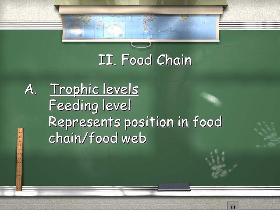 II. Food Chain A. Trophic levels Feeding level Feeding level Represents position in food Represents position in food chain/food web chain/food web A.
