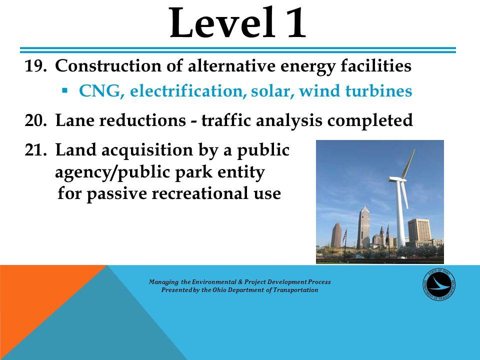 19. Construction of alternative energy facilities  CNG, electrification, solar, wind turbines 20.