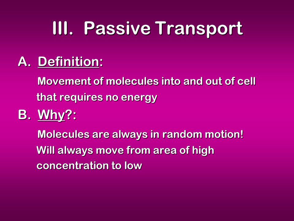 III. Passive Transport A.