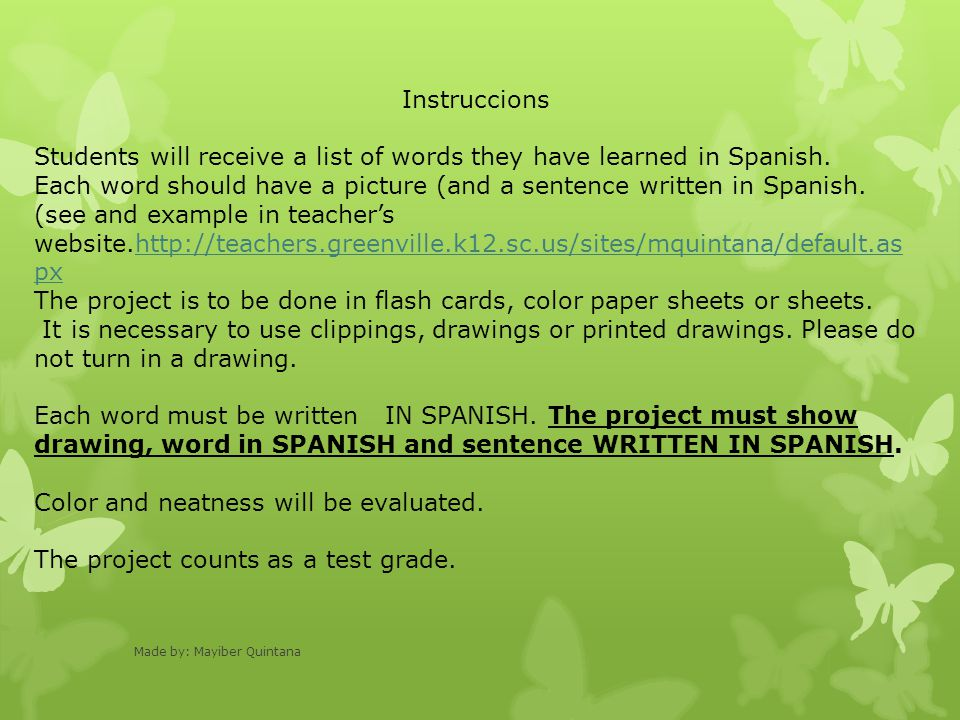 Instruccions Students will receive a list of words they have learned in Spanish.