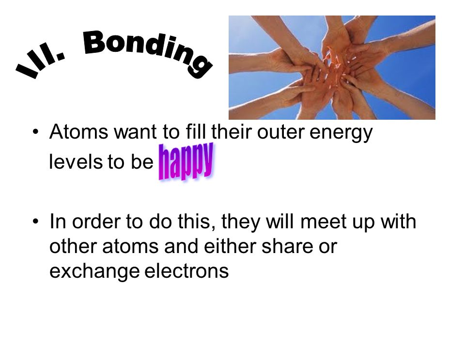 Atoms want to fill their outer energy levels to be In order to do this, they will meet up with other atoms and either share or exchange electrons