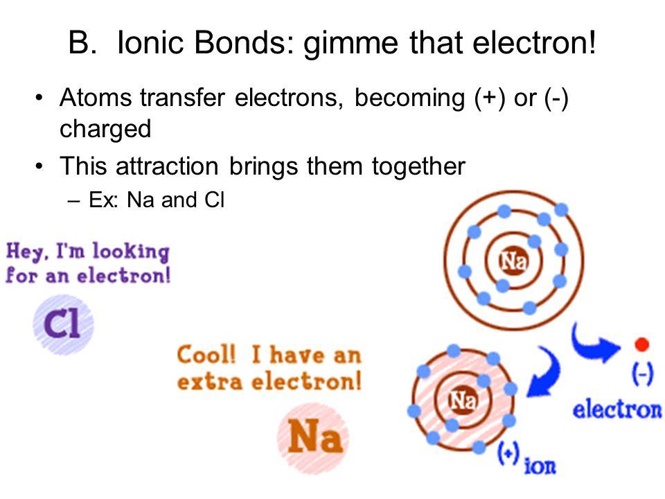 B.Ionic Bonds: gimme that electron.