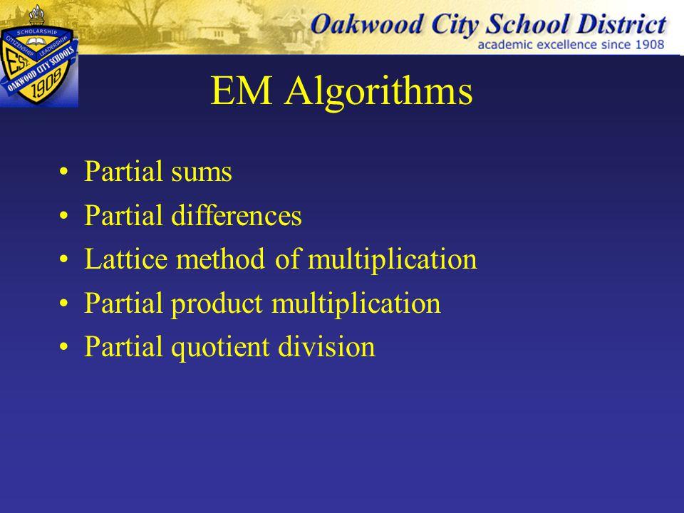 EM Algorithms Partial sums Partial differences Lattice method of multiplication Partial product multiplication Partial quotient division