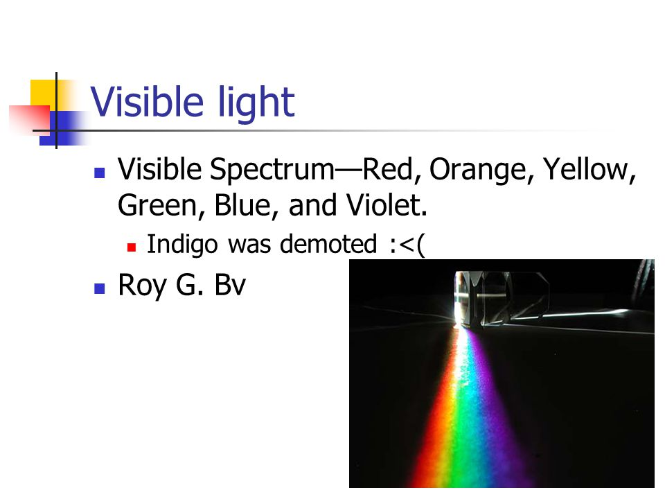Visible light Visible Spectrum—Red, Orange, Yellow, Green, Blue, and Violet.