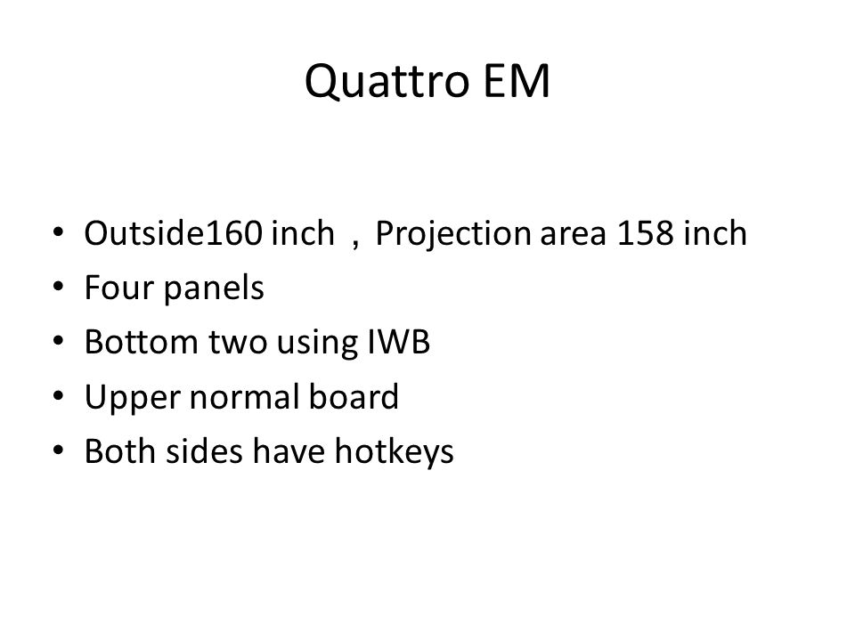 Quattro EM Outside160 inch , Projection area 158 inch Four panels Bottom two using IWB Upper normal board Both sides have hotkeys