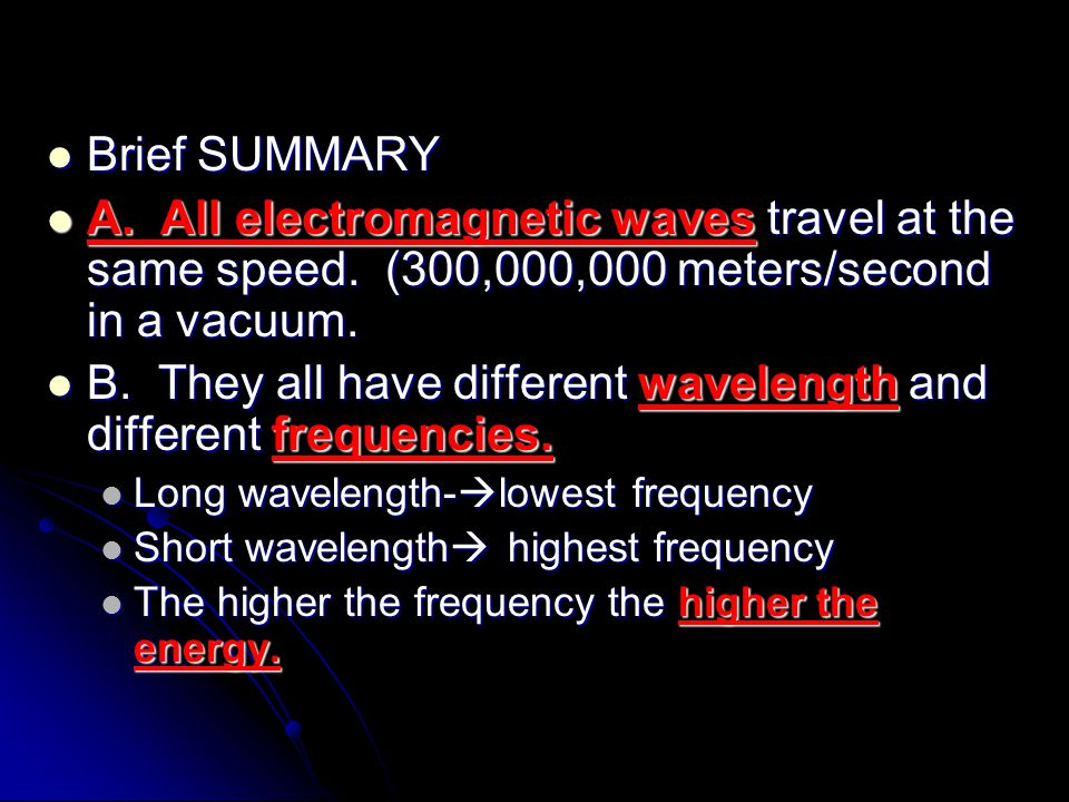 Brief SUMMARY Brief SUMMARY A. All electromagnetic waves travel at the same speed. (300,000,000 meters/second in a vacuum. A. All electromagnetic wave