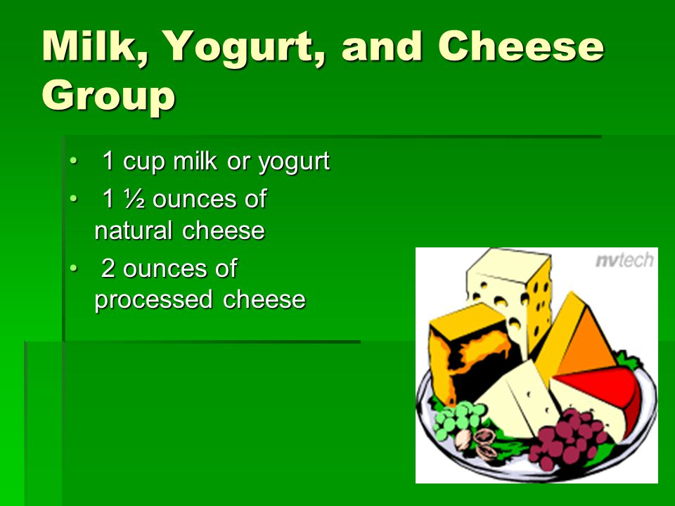 Milk, Yogurt, and Cheese Group 1 cup milk or yogurt 1 cup milk or yogurt 1 ½ ounces of natural cheese 1 ½ ounces of natural cheese 2 ounces of processed cheese 2 ounces of processed cheese