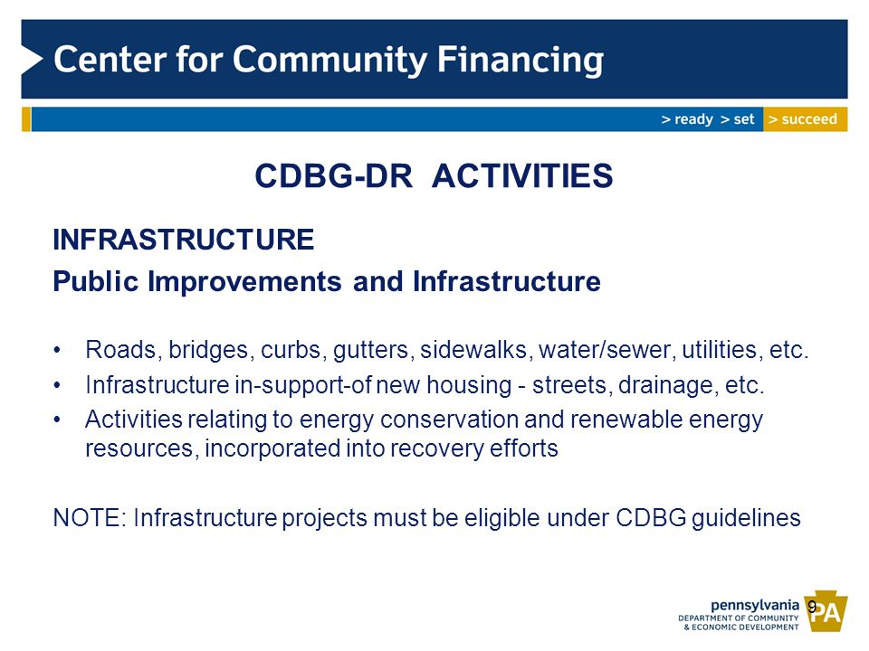 INFRASTRUCTURE Public Improvements and Infrastructure Roads, bridges, curbs, gutters, sidewalks, water/sewer, utilities, etc.