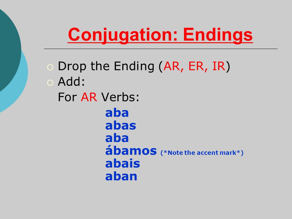 Conjugation: Endings  Drop the Ending (AR, ER, IR)  Add: For AR Verbs: aba abas aba ábamos (*Note the accent mark*) abais aban