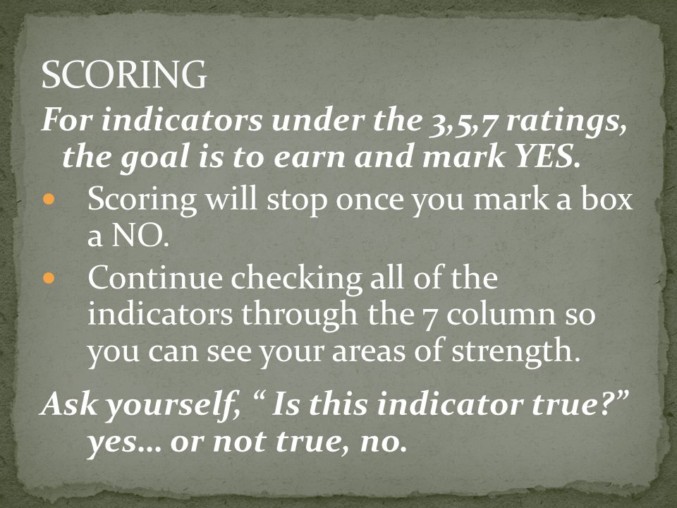For indicators under the 3,5,7 ratings, the goal is to earn and mark YES. Scoring will stop once you mark a box a NO. Continue checking all of the ind