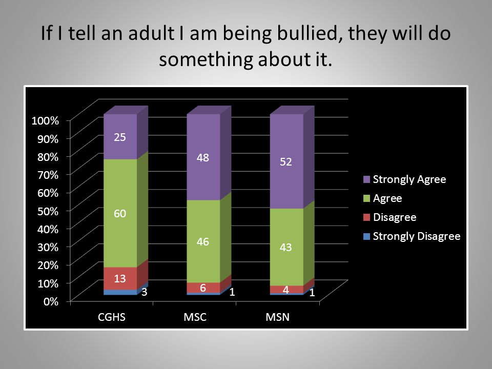 Adults make it clear that bullying is not tolerated at my school.
