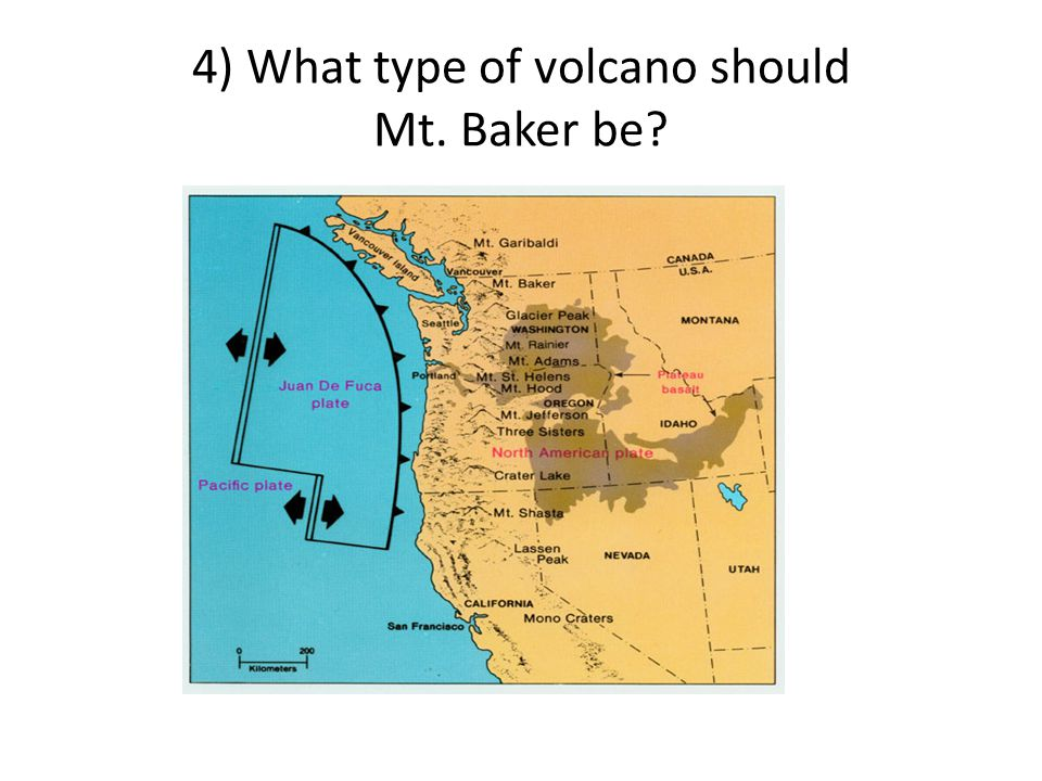 4) What type of volcano should Mt. Baker be?
