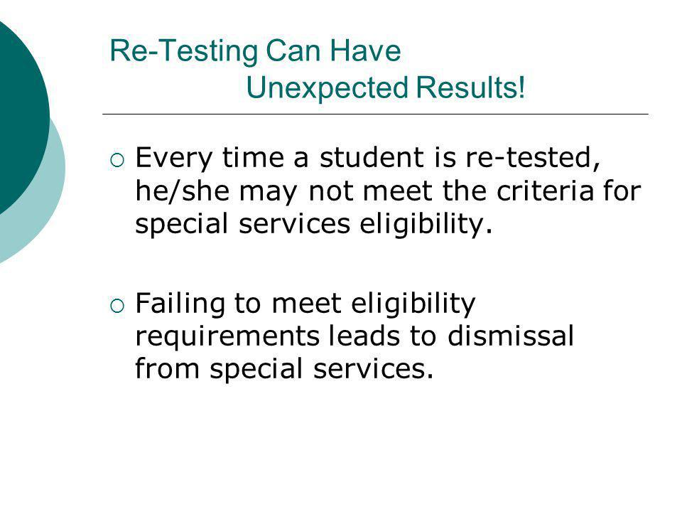 Re-Testing Can Have Unexpected Results!  Every time a student is re-tested, he/she may not meet the criteria for special services eligibility.  Fail