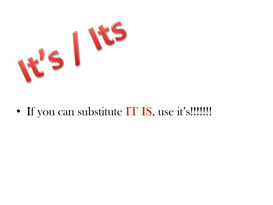 If you can substitute IT IS, use it's!!!!!!!