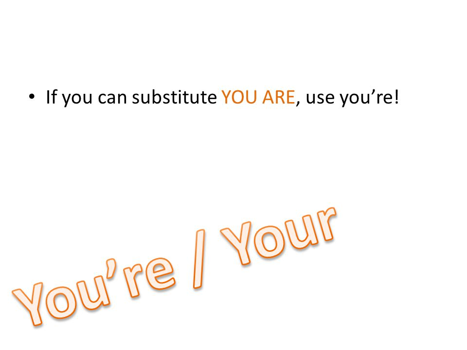 If you can substitute YOU ARE, use you're!