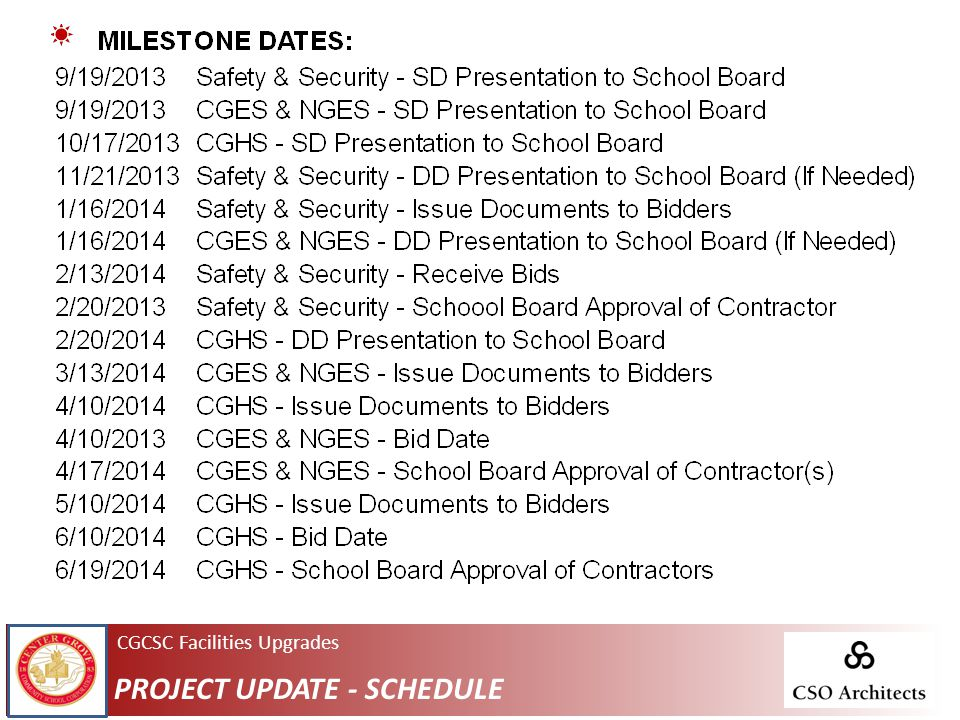 CGCSC Facilities Upgrades PROJECT UPDATE - SCHEDULE