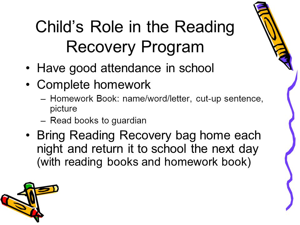 Who makes up the Reading Recovery Team? Child ParentClassroom Teacher Reading Recovery Teacher