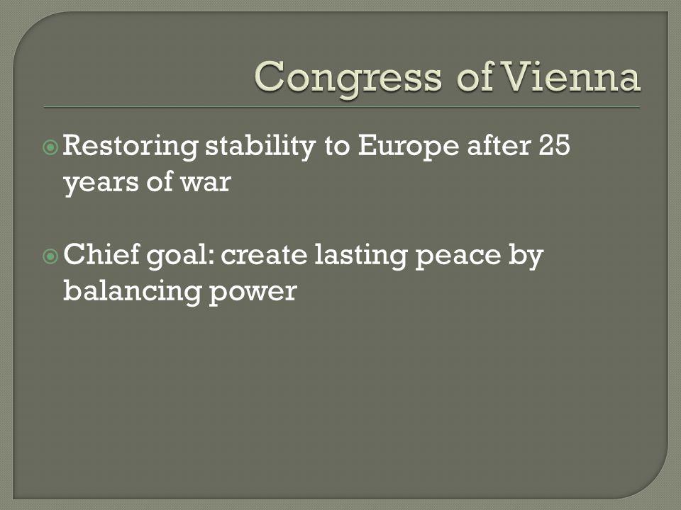  European map redrawn – pg 502  Turn the clock back to 1792 – Legitimacy -restore hereditary monarchies  Louis XVIII – king of France