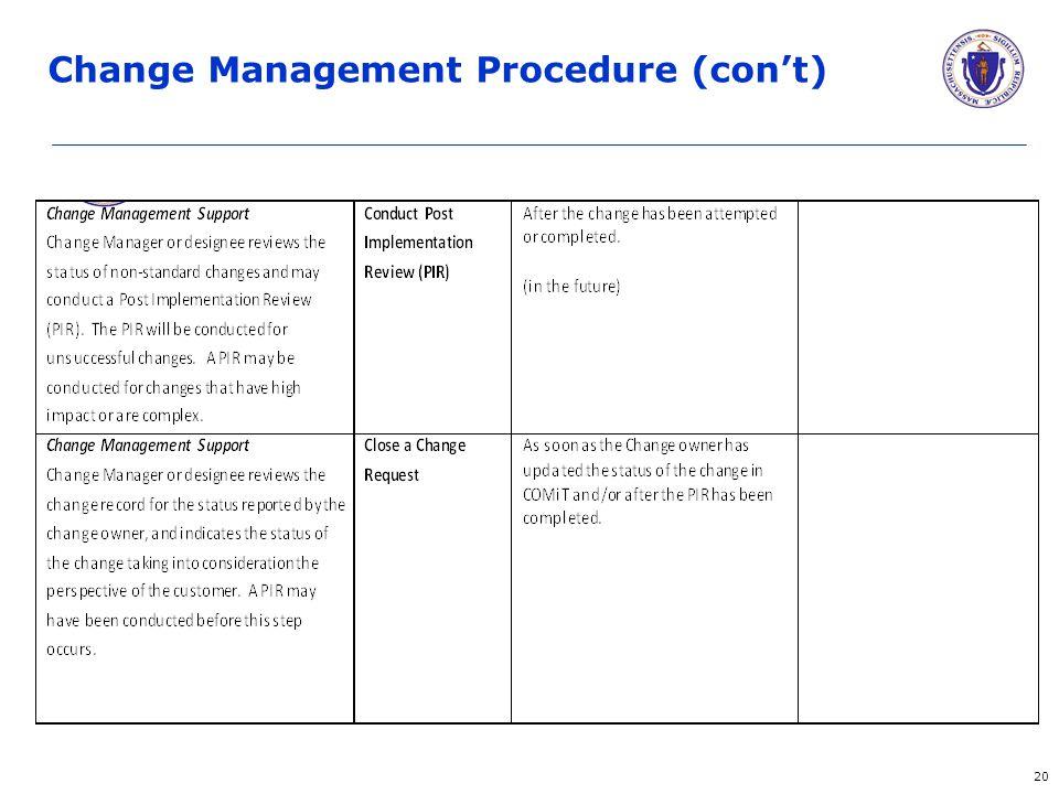 20 Change Management Procedure (con't)