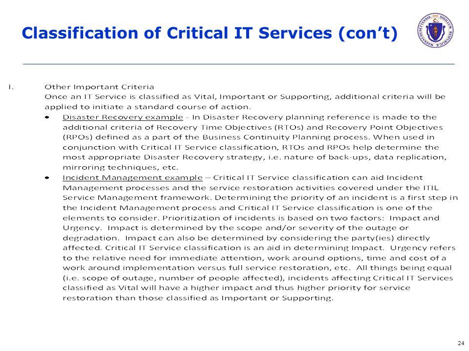 24 Classification of Critical IT Services (con't)