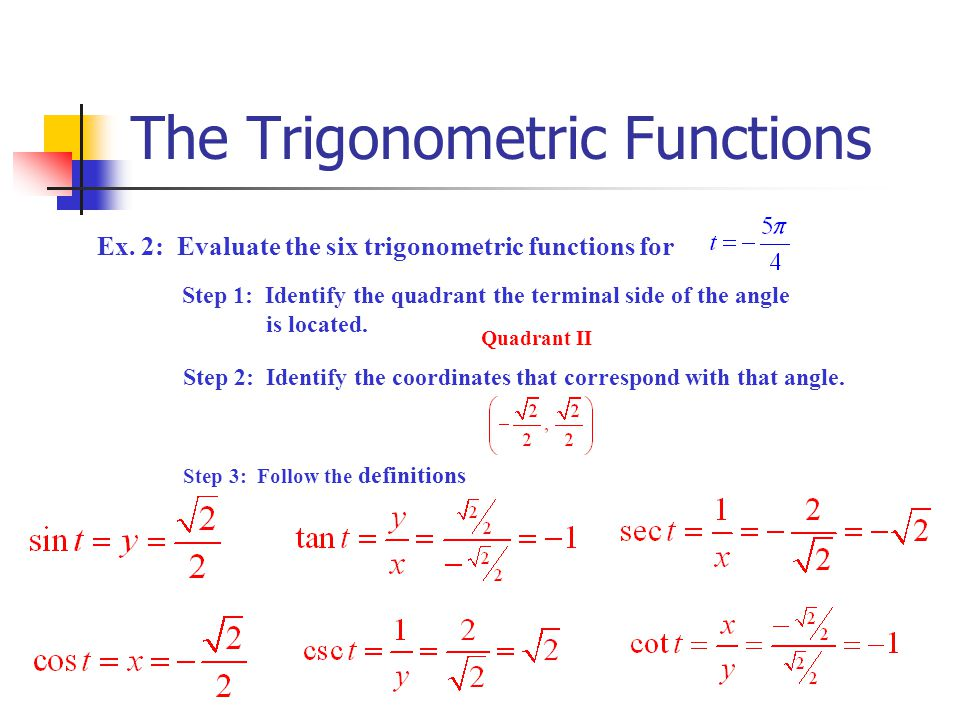 The Trigonometric Functions Ex. 2: Evaluate the six trigonometric functions for Step 1: Identify the quadrant the terminal side of the angle is locate