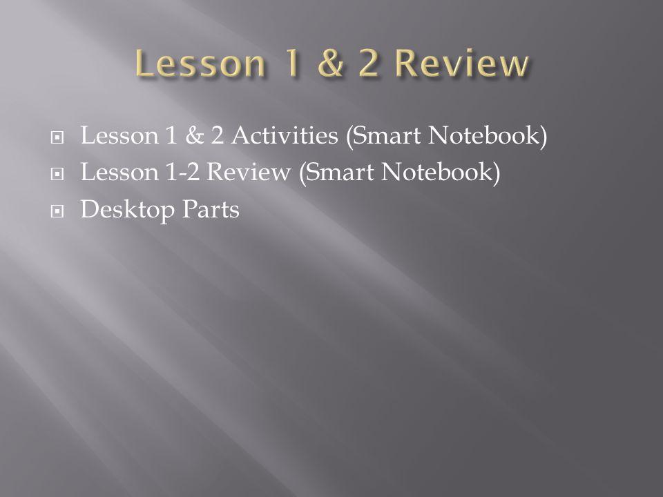  Lesson 1 & 2 Activities (Smart Notebook)  Lesson 1-2 Review (Smart Notebook)  Desktop Parts