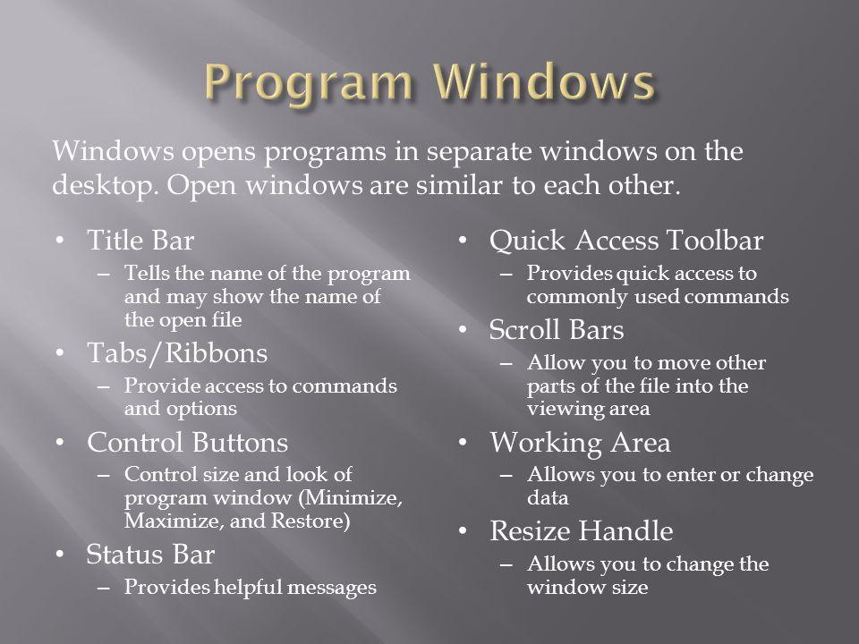 Windows opens programs in separate windows on the desktop.