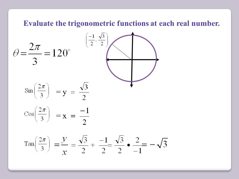 Cosine = x Sine = y Tangent = Sine Cosine Cos + Sin (1, 0) (-1, 0) (0, 1) (0, -1) Cos(0) =1 Sin(0) = 0 Cos Sin + Cos(90) =0 Sin(90) = 1 90 ° 180 ° Cos