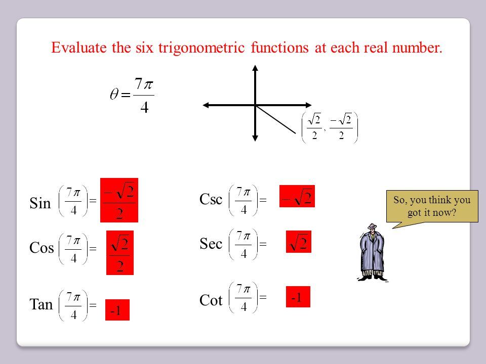 Evaluate the six trigonometric functions at each real number. (0, -1) = y = x = -1 = 0 DNE Does Not Exist DNE = -1 = 0