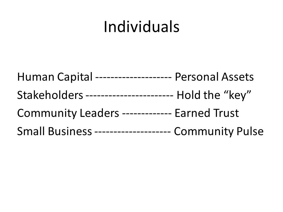 Individuals Human Capital -------------------- Personal Assets Stakeholders ----------------------- Hold the key Community Leaders ------------- Earned Trust Small Business -------------------- Community Pulse